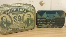 Lot of (2) Vintage Tin--Smith Bros Cough Drops and American Quality Steel&Wire