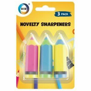Pack of 3 Novelty Pencil Sharpeners School Gift Stationary Kids Lockdown Craft