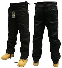 "44"" INCH WAIST BLACK ARMY CARGO COMBAT SECURITY WORK TROUSERS PANTS"