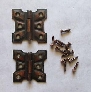 "Vtg. butterfly flush hinge copper flashed  1 7/8""x 1 7/8""  cupboard cabinet 1 pr"
