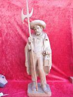 Muy Bonita, vieja, Talla Figura de Madera, Vigilante Noche,Madera Roble, 115cm