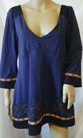 Anthropologie C Keer Knit Embroidered Top Medium Navy Blue Beaded 3/4 Sleeve