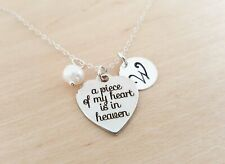 A Piece of My Heart is in Heaven Personalized Sterling Silver Necklace