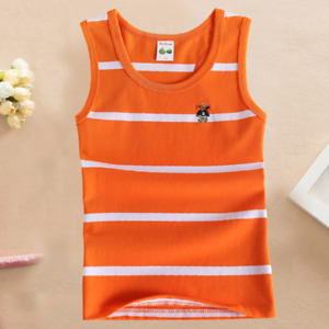 Top Sleeveless Shirt Vests Girls Boys Stripes T-shirt Random Cartoon Character