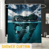 180cm Fabric Bathroom Shower Curtain Set 3D Printed Waterproof w/12 Hooks Decor