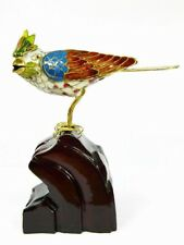 Vintage Cloisonne Copper Enamel Bird Statue Figurine On Wooden Stand,Handicraft