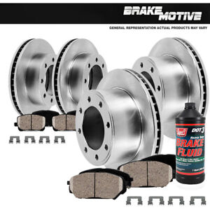Front And Rear Brake Rotors & Ceramic Pads For Ford F250 F350 Excursion 4WD 4X4