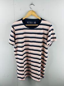 Kenji Men's Short Sleeve Crew Neck Casual T Shirt Pocket Size XL Pink Striped