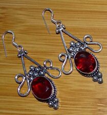 Red Garnet 925 Sterling Silver Plated Women,s Drop Dangle Earrings Jewelry