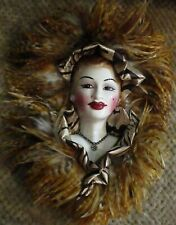 Mask wall decor feathers porcelain face New Awesome!