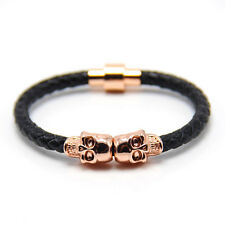 Cool Punk Mens Genuine Leather Twin Skull Magnetic Rope Braided Bracelet + Box