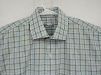 Peter Millar Mens Blue Plaid Button Front Long Sleeve Shirt Casual Large