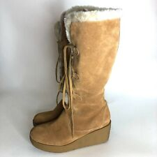 Michael Kors Womens Size 9 Knee High Shearling Boots Brown Suede