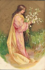 Art Nouveau Lady With Flowers In Her Hand Gold Vintage Postcard 06.32