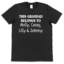 Personalised This Grandad Belongs To T-Shirt Any Grandkids Names All Colours