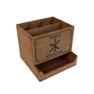 Besteckkorb Besteckbox Aufbewahrung Besteck Besteckkasten Soßen Servietten Holz