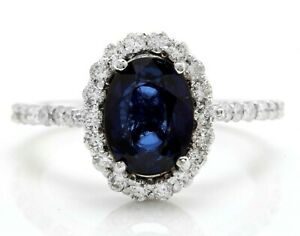 2.75 Carat Natural Sapphire and Diamonds in 14K Solid White Gold Women's Ring