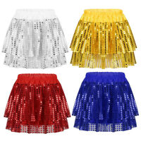 Girls Latin Jazz Dancing Tutu Skirt Kids Sequined Costume Stage Performance Wear