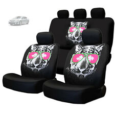 NEW BLACK FABRIC TIGER FACE LOGO FRONT AND REAR CAR SEAT COVERS SET FOR TOYOTA