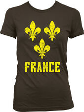 Yellow Distressed France Fleur De Lis -French Pride  Juniors T-shirt