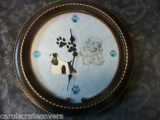 Cocker Spaniel BW 12 inch Embroidered Clock Handmade Glass Quartz ONE OF A KIND