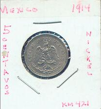 WORLD COINS MEXICO 1914  5 CENTAVOS AU (3G616))
