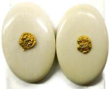 Cuff Links 10k Gold Nugget Centers White Cream Oval Face Men Tux Suit Cufflinks