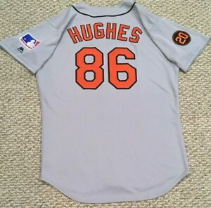 TBTC 1969 size 46 #86 HUGHES BALTIMORE ORIOLES GAME USED JERSEY MLB HOLOGRAM