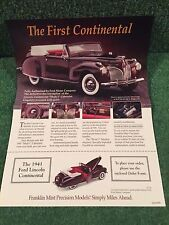 "Franklin Mint ""The 1941 Lincoln Continental!"". Brochure!"