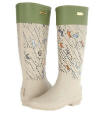 Rare Burberry Colburn Rubber Rain Boots Raining Cats Dogs Graphics US7 EU37 Cute
