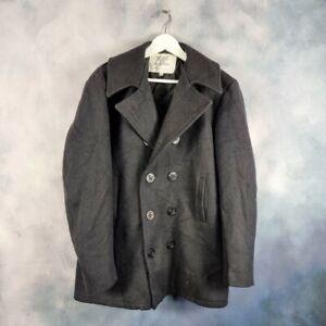 Vtg US NAVY Surplus Naval Wool Mariner Reefer PEA COAT Jacket Made in USA 42L