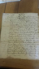 Parchemin manuscrit XVIeme XVIIeme document de famille Lyon 1720