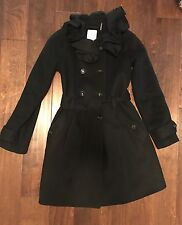 New! Rebecca Taylor Wool Trench Coat Black SZ 2 $595