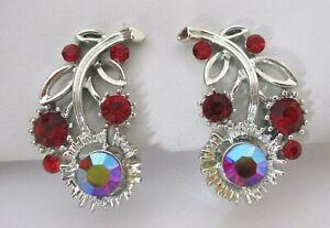 Vintage Red Rhinestone Flower Earrings Lisner