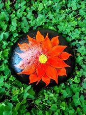 Handpainted Orange Floral FLOWER ROCK Pop Art Garden Decor