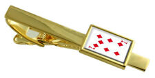 Diamond Playing Card Number 7 Gold-Tone Tie Clip Select Gift Pouch