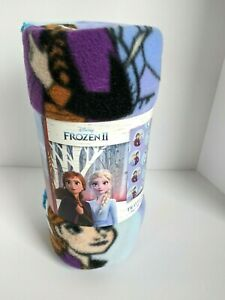 Disney Frozen 2 Fleece Travel Throw Blanket 40in x 50in Anna Elsa Olaf Purple