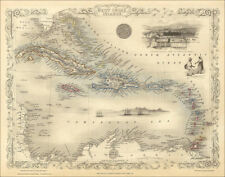 West Indies Islands, a map by Tallis 1851 - an enlarged reproduction