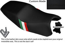 BLACK LEATHER CUSTOM ITALIAN FLAG DESIGN FITS DUCATI ST2 ST4 DUAL SEAT COVER
