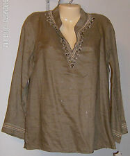 Rafaella Linen Embroidered Tunic Size 10 Beads Sequins Fatigue Color Brown NWT
