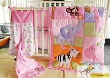 Baby Girls 9 Pieces Cotton Nursery Bedding Crib Cot Sets Monkey Animal Zoo