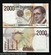 ITALY 2000 2,000 LIRA P115 PRE EURO UNC MARCONI RADIO SHIP CURRENCY MONEY NOTE