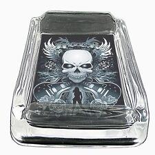 Glass Square Ashtray Skull Design-003