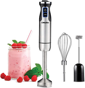Hand Blender Milk Frother Electric Mixer Stainless Steel With Whisk And Non Slip