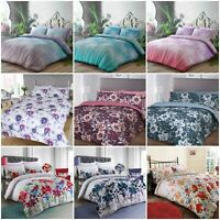 Floral Duvet Cover with Pillowcase Polycotton Quilt Bedding Set Double King Size