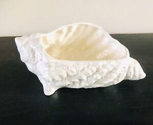 Vintage White Shell Vase Planter - Mid Century - Unused
