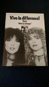 """HEART  """" BEBE LE STRANGE """" (1980)  RARE ORIGINAL PRINT PROMO POSTER AD"""