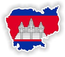 Cambodia Map Flag Sticker Silhouette for Bumper Helmet Car Fridge Laptop Door