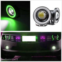 "2 Pcs 10W 2.5"" 64mm Green LED Car Projector Lights Fog Lamps With Angel Eye Halo"