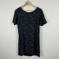 Volcom Womens Dress Small 10 Black Floral Short Sleeve Round Neck Skater